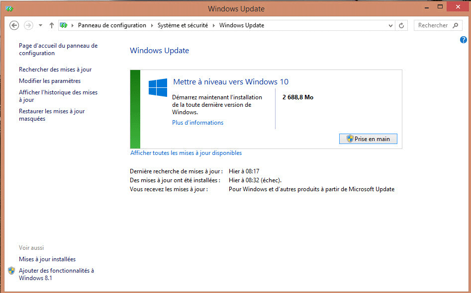 Supprimer annonce windows10 dans windows update