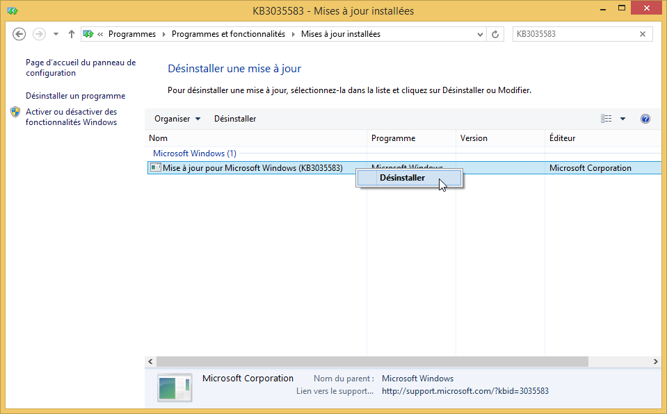 desinstaller lapplication obtenir windows 10 supprimer icone windows 10 supprimer kb3035583 2
