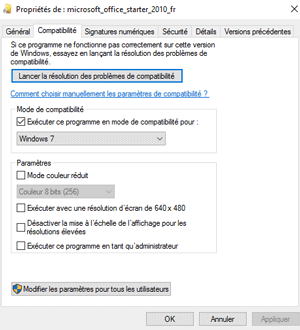 Installer Microsoft Office Starter 2010 sous Windows 10